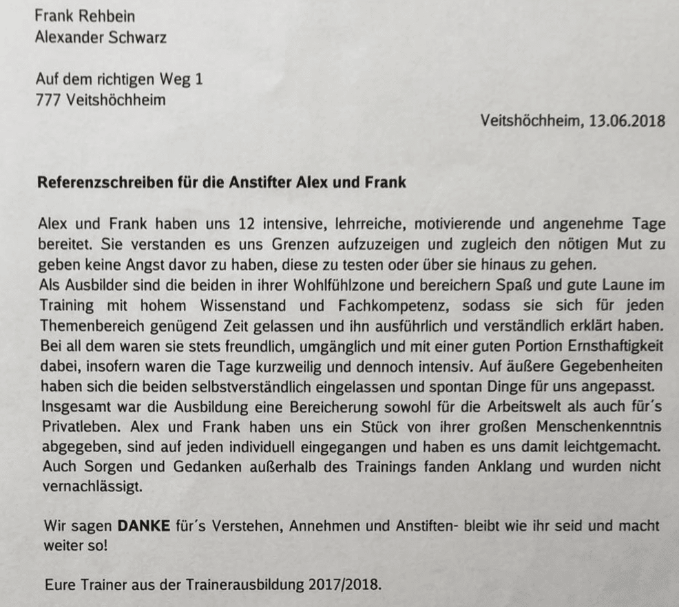 Zertifikat für Alexander Schwarz und Frank Rehbein von den Teilnehmern