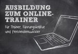 Ein Laptop mit Schrift im Bild: Ausbildung zum Online-Trainer