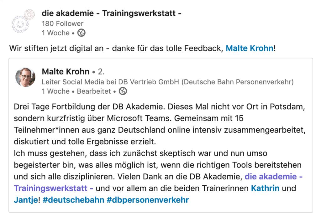 Feedback online Trainer