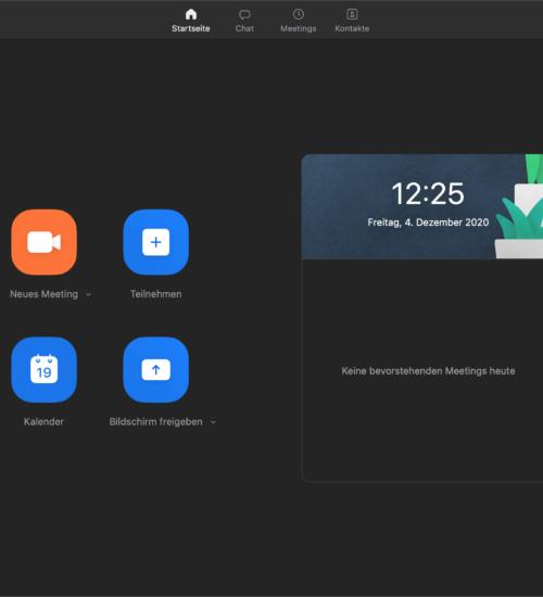 Icons Zoome Startbildschrim, online meeting